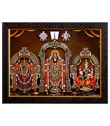 Balaji with Mahalakshmi and Dhanalakshmi on Laminated Board - Wall Hanging