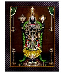 Balaji with Lakshmi on Laminated Board - Wall Hanging