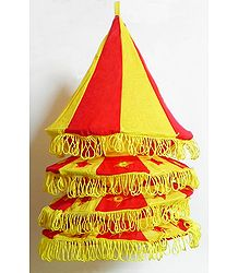 Yellow with Red Appliqued and Mirrorwork Foldable Hanging Cloth Lamp Shade