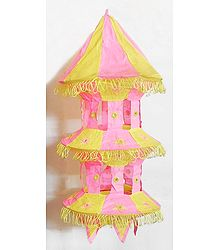 Light Yellow with Pink Appliqued and Mirrorwork Foldable Hanging Cloth Lamp Shade