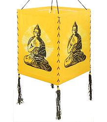 Hanging Tie and Dye Foldable Yellow Lamp Shade with Hand Painted Buddha