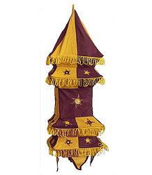 Maroon with Dark Yellow Appliqued and Mirrorwork Foldable Hanging Cloth Lamp Shade