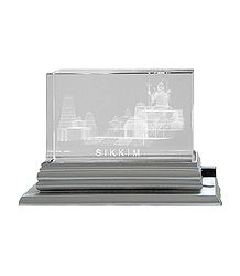 3-D Etched Glass Char Dham with Changing Colors