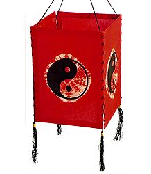 Hanging Tie and Dye Foldable Red Lamp Shade with Hand Painted Yin-Yang - Cloth Lampshade