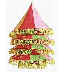 Multicolor Appliqued and Mirrorwork Foldable Hanging Cloth Lamp Shade