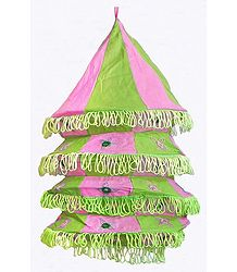 Light Green with Pink Appliqued and Mirrorwork Foldable Hanging Cloth Lamp Shade