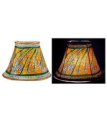 Leather Perforated Wall Hanging Lamp Shade with Colorful Hand Painted Flower Design