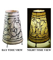 Leather Perforated Stand Lamp Shade with Black & White Hand Painted Peacock Design