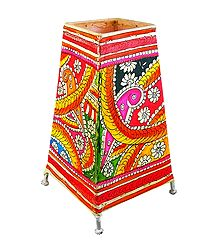 Leather Perforated Table Stand Lamp Shade with Colorful Hand Painted Peacock Design