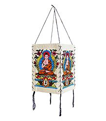 Hanging Foldable White Paper Lamp Shade with Colorful Buddha Print