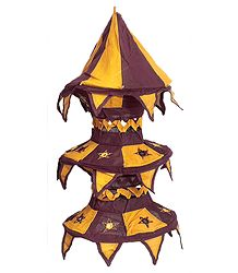 Dark Yellow with Maroon Appliqued and Mirrorwork Foldable Hanging Cloth Lamp Shade
