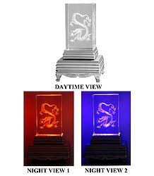 3-D Etched Glass Chinese Dragon with Changing Colors