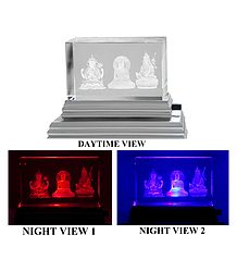 3-D Etched Glass Buddhist Deities with Stand