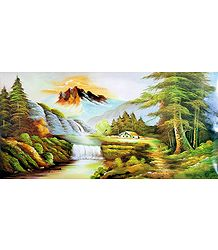 Mountainside River - Poster