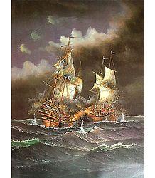 Battle in the Stormy Seas