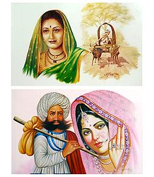 Rajasthani and Maharashtrian People - Set of 2 Unframed Posters