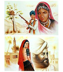Rajasthani People - Set of 2 Unframed Poster