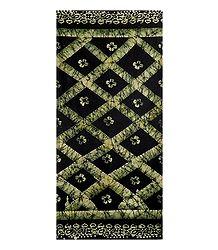 Black with Light Green Batik Cotton Lungi