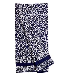White Batik Print on Blue Cotton Lungi