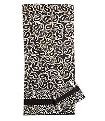 Batik Print on Black Cotton Lungi