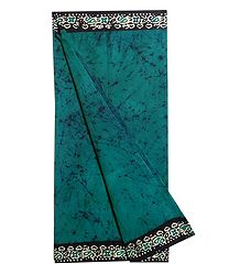 Batik Print on Cyan Blue Cotton Lungi