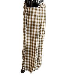Brown with White Check Cotton Lungi