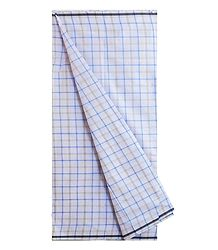White and Blue Check Cotton Lungi