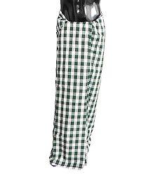 White and Green Check Cotton Check Lungi