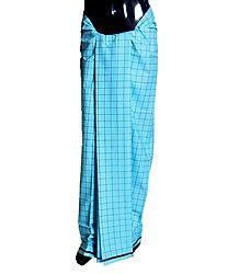 Black Check on Blue Cotton Lungi