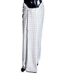Black Check on White Cotton Lungi