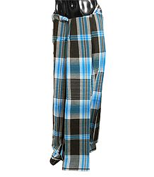 Blue with Black Check Cotton Lungi