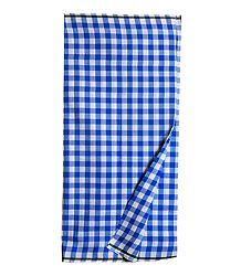 Blue with White Check Cotton Lungi