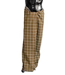 White check on Brown Cotton Lungi