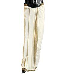 Off-White Plain Cotton Lungi with Moss Green Border