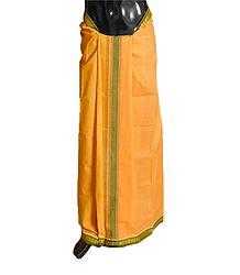 Saffron Plain Cotton Lungi with Green Border