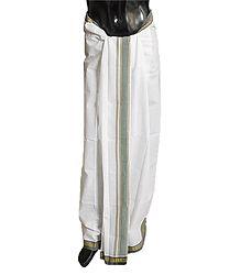 White Cotton Lungi with Green Border