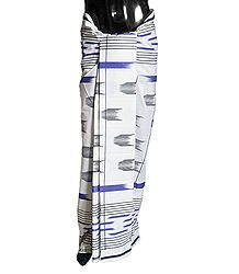 Buy Online Printed White Cotton Lungi