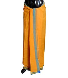 Yellow Cotton Lungi with Blue Border