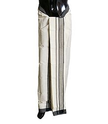 Ivory Cotton Lungi with Black Border