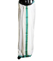 Buy White Cotton Lungi with Cyan Green Border