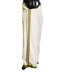 Ivory Cotton Lungi with Olive Green Border