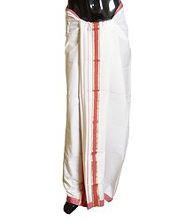 Ivory Cotton Lungi with Dark Pink Border