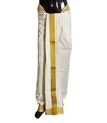 Ivory Cotton Lungi with Golden Border