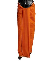Dark Saffron Plain Cotton Lungi