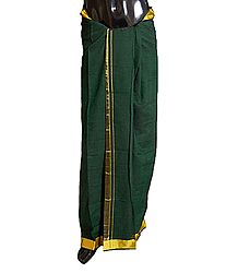 Green Cotton Lungi with Yellow Border