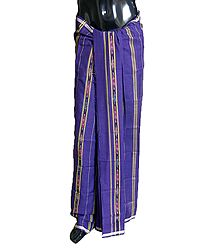 Purple Cotton Lungi with ikkat Design