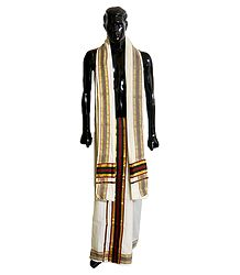 Off-White Cotton Lungi and Chadar with Red, Green, Black and Zari Border