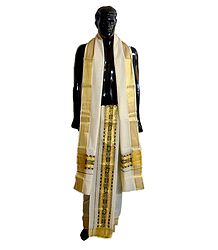 Off-White Cotton Lungi and Chadar with Zari Border