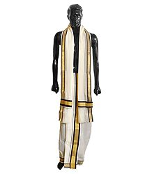 Off-White Cotton Lungi and Chadar with Zari and Black Border
