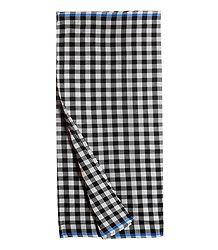 Black and White Check Cotton Lungi
